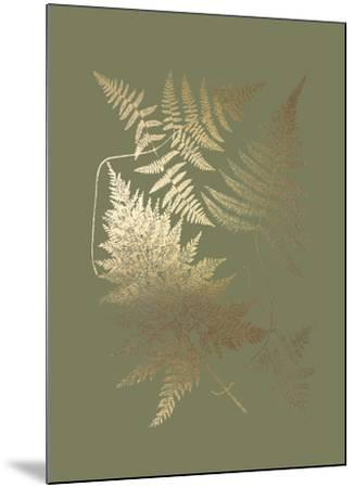 Gold Foil Ferns III on Mid Green-Vision Studio-Mounted Art Print