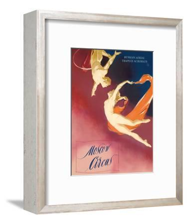 Moscow Circus - Russian Aerial Trapeze Acrobats-Pacifica Island Art-Framed Art Print