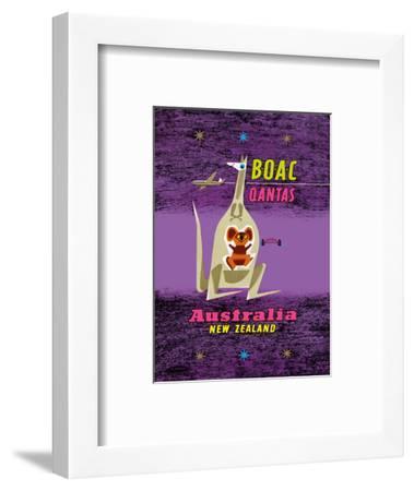 Australia - New Zealand - BOAC (British Overseas Airways Corporation)-Maurice Laban-Framed Art Print
