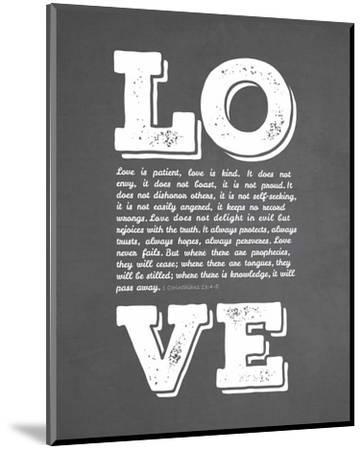 Corinthians 13:4-8 Love is Patient - Chalkboard-Inspire Me-Mounted Art Print