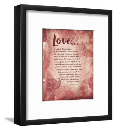 Corinthians 13:4-8 Love is Patient - Pink Floral-Inspire Me-Framed Art Print