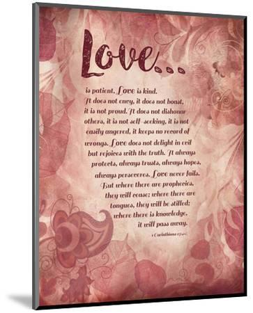 Corinthians 13:4-8 Love is Patient - Pink Floral-Inspire Me-Mounted Art Print