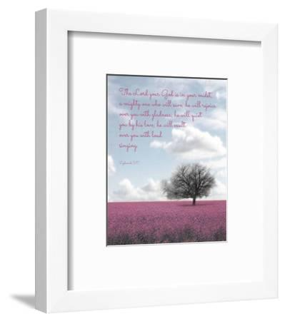 Zephaniah 3:17 The Lord Your God (Colored Landscape)-Inspire Me-Framed Art Print