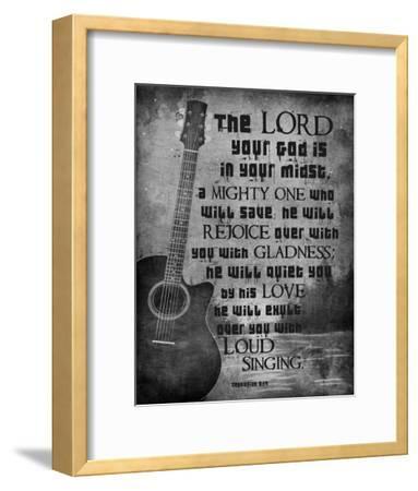 Zephaniah 3:17 The Lord Your God (Guitar Black & White)-Inspire Me-Framed Art Print
