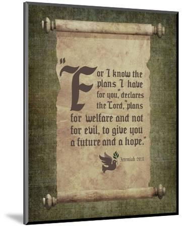 Jeremiah 29:11 For I know the Plans I have for You (Scroll)-Inspire Me-Mounted Art Print