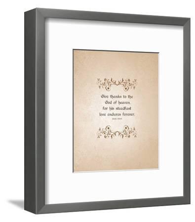 Psalm 136:26, Give Thanks (Beige)-Inspire Me-Framed Art Print