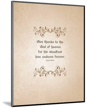 Psalm 136:26, Give Thanks (Beige)-Inspire Me-Mounted Art Print