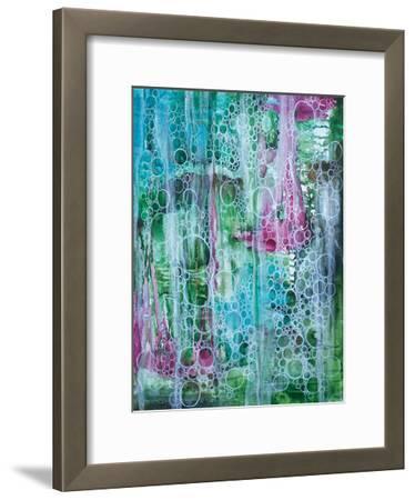 Teal Bubbles-Pam Varacek-Framed Art Print