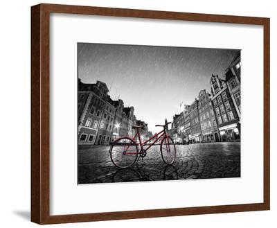 Red BikeOn Cobble Stone Street-Michal Bednarek-Framed Art Print