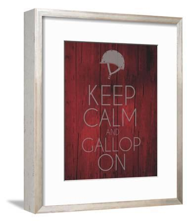 Keep Calm and Gallop On - Red-Sports Mania-Framed Art Print