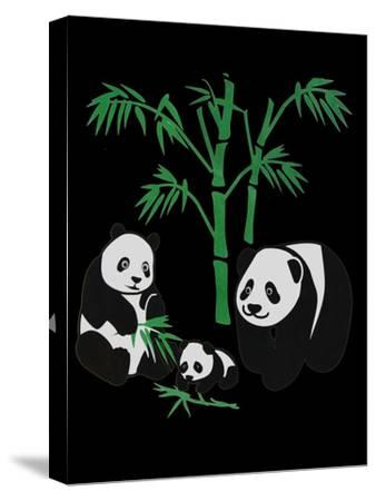 Panda Bear Family With Bamboo-Wonderful Dream-Stretched Canvas Print