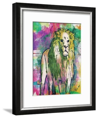 Lion Dark Bright Henna-OnRei-Framed Art Print