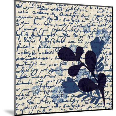 Indigo Squares Textured 1-Melody Hogan-Mounted Art Print