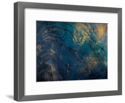 Golden Blue Marble-Jace Grey-Framed Art Print