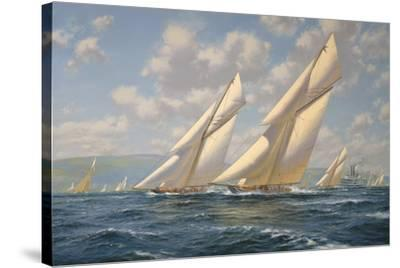 America's Cup 1901- Columbia v Shamrock II-Roy Cross-Stretched Canvas Print