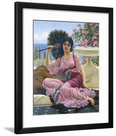 Peacock Fan-John William Godward-Framed Giclee Print