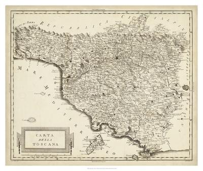 Antique Map of Tuscany-Unknown-Framed Giclee Print