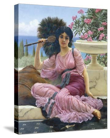 Peacock Fan-John William Godward-Stretched Canvas Print