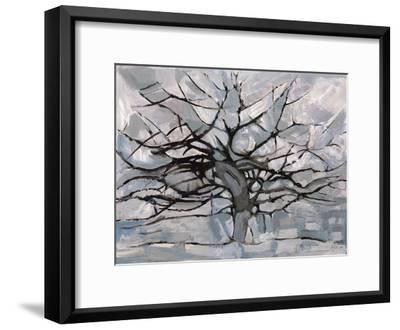 Grey Tree Abstract-Dorvard-Framed Art Print