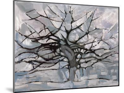 Grey Tree Abstract-Dorvard-Mounted Art Print