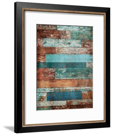 Blue Hues Wood-Jace Grey-Framed Art Print