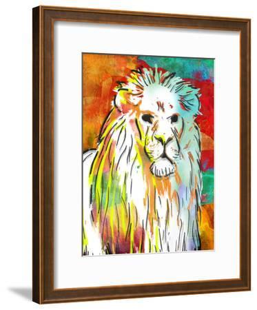 Vibrant Lion-OnRei-Framed Art Print