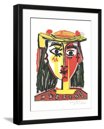 Portrait of a Woman in a Hat with Pompoms and a Printed Blouse-Pablo Picasso-Framed Art Print