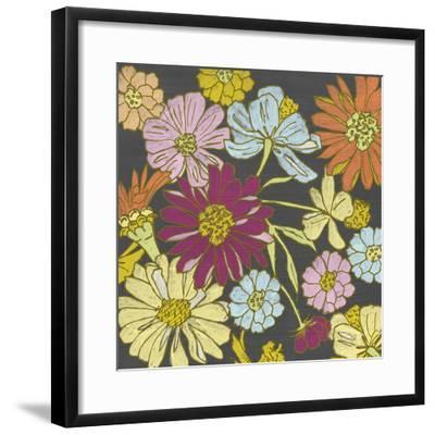 Summer Floral on Grey I-Chariklia Zarris-Framed Art Print
