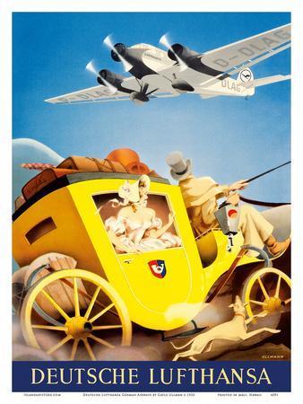 Deutsche Lufthansa German Airways - Junkers JU-52 Aircraft-Gayle Ullman-Framed Art Print