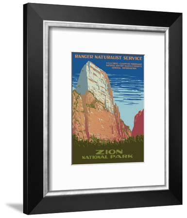 Zion National Park - Great White Throne Mountain - Ranger Naturalist Service-Work Projects Administration (WPA)-Framed Art Print