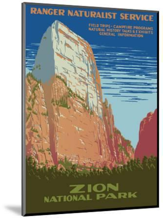 Zion National Park - Great White Throne Mountain - Ranger Naturalist Service-Work Projects Administration (WPA)-Mounted Art Print