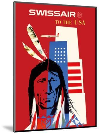SwissAir to the USA - Native American-Donald Brun-Mounted Art Print