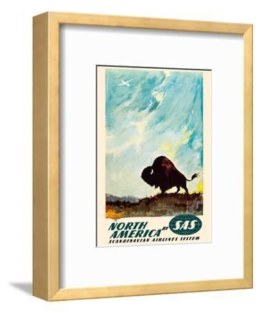 North America - by SAS Scandinavian Airlines System - American Bison (Buffalo)-Otto Nielsen-Framed Art Print