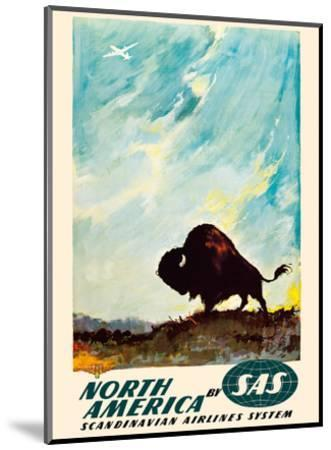 North America - by SAS Scandinavian Airlines System - American Bison (Buffalo)-Otto Nielsen-Mounted Art Print