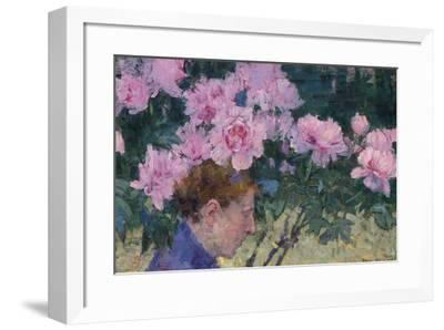Peonies and head of a Woman-John Peter Russell-Framed Giclee Print