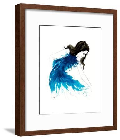 Blue Feathers-Jessica Durrant-Framed Art Print