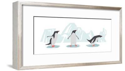 Minimalist Penguin Trio, Boys-Color Me Happy-Framed Art Print