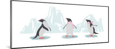 Minimalist Penguin Trio, Girls-Color Me Happy-Mounted Art Print