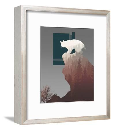 Red Ombre Forest in Bobcat Silhouette-Color Me Happy-Framed Art Print