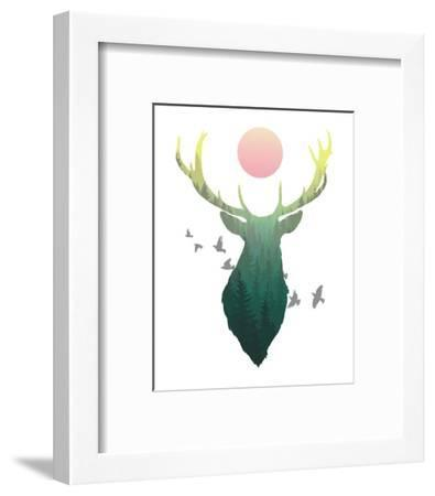 Green Ombre Forest in Stag Silhouette-Color Me Happy-Framed Art Print