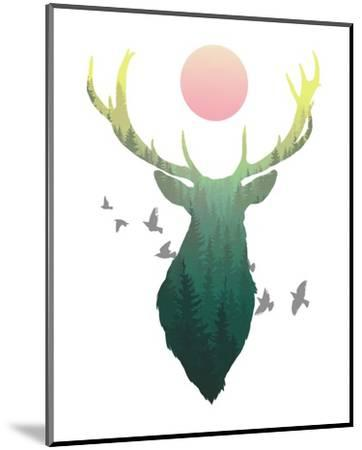 Green Ombre Forest in Stag Silhouette-Color Me Happy-Mounted Art Print