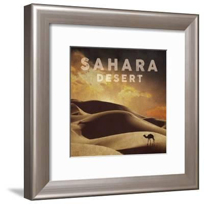 Vintage Sahara Desert with Sand Dunes and Camel, Africa-Take Me Away-Framed Art Print