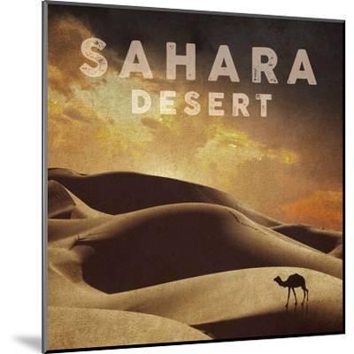 Vintage Sahara Desert with Sand Dunes and Camel, Africa-Take Me Away-Mounted Art Print