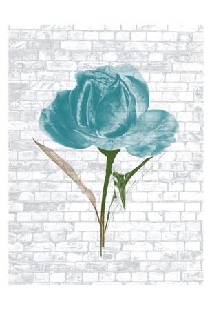 Blue Brick Floral 2-Sheldon Lewis-Framed Art Print