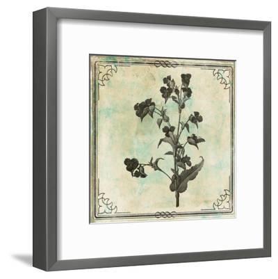 Bordered Stencil Floral Mate-Jace Grey-Framed Art Print