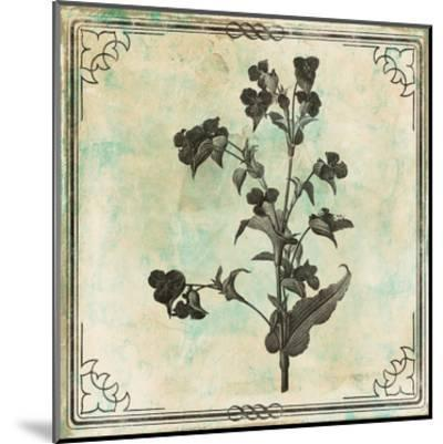 Bordered Stencil Floral Mate-Jace Grey-Mounted Art Print