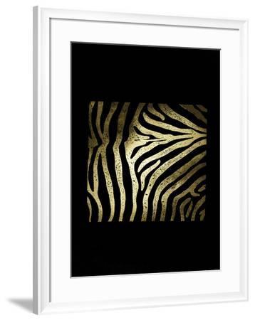 Gold Foil Zebra Pattern on Black-Vision Studio-Framed Art Print