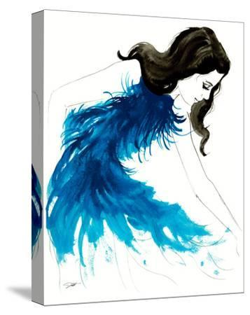 Blue Feathers-Jessica Durrant-Stretched Canvas Print