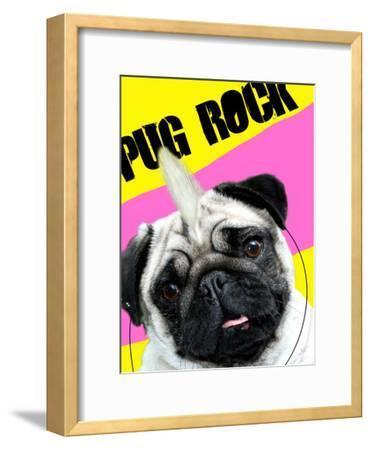 Pug Rock Portrait-Noah Bay-Framed Art Print