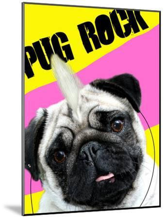 Pug Rock Portrait-Noah Bay-Mounted Art Print